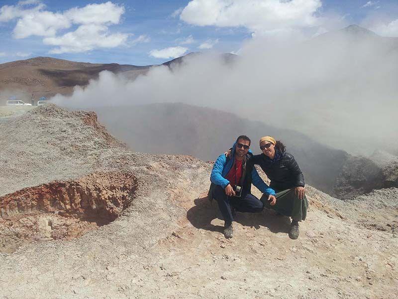 Geisers en los altiplanos de Bolivia